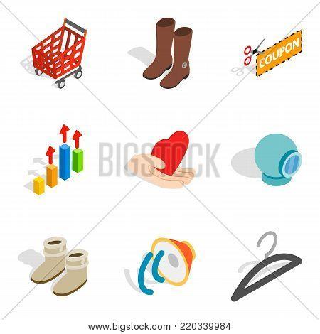 Intrusive advertising icons set. Isometric set of 9 intrusive advertising vector icons for web isolated on white background