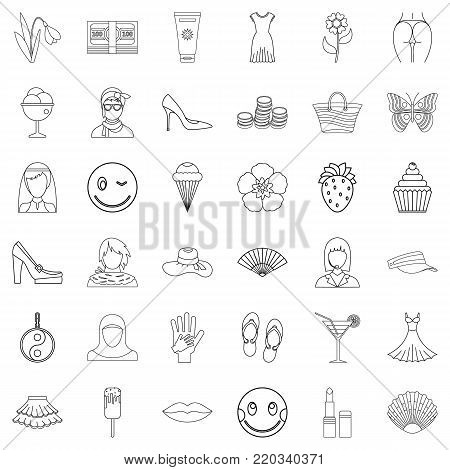 Dress icons set. Outline style of 36 dress vector icons for web isolated on white background