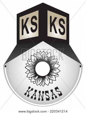 Vintage street sign for the state of Kansas
