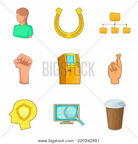 Participant icons set. Cartoon set of 9 participant vector icons for web isolated on white background
