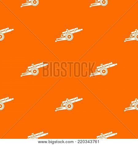 Artillery gun pattern repeat seamless in orange color for any design. Vector geometric illustration