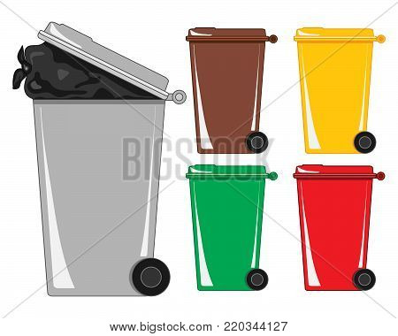 an illustration of a gray refuse bin with a bag of rubbish showing and various recycling bins on a white background