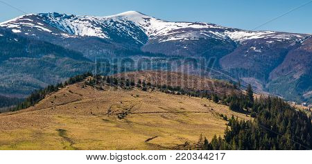Borzhava Mountain Ridge With Snowy Tops