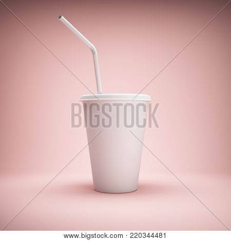 White paper cup with drinking straw on pink background. 3D illustration.