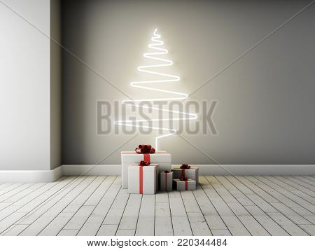 Concept of Christmas tree with gifts in interior. 3D illustration.