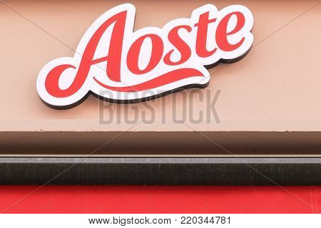 Lyon, France - September 20, 2017: Aoste logo on a wall. Aoste is a French food industry  company founded in 1976 and specialized in the manufacture and distribution of deli meats