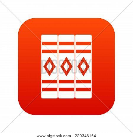 Three literary books icon digital red for any design isolated on white vector illustration