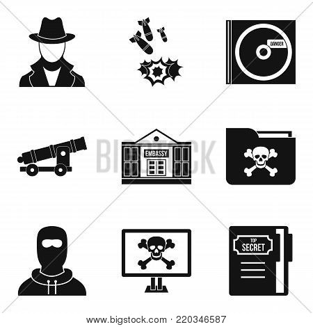 Misdoing icons set. Simple set of 9 misdoing vector icons for web isolated on white background