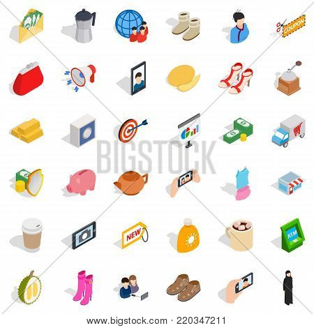 Wallet icons set. Isometric style of 36 wallet vector icons for web isolated on white background