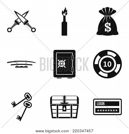 Criminal offence icons set. Simple set of 9 criminal offence vector icons for web isolated on white background