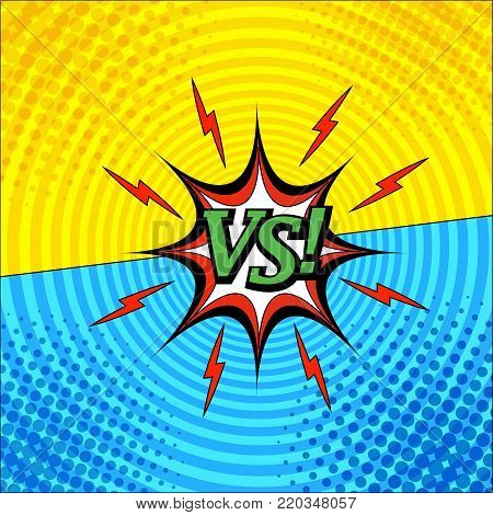Comic versus template with two opposite confrontational sides, red lightnings,speech bubble, halftone and circle effects in yellow and blue colors. Vector illustration