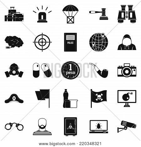 Offense icons set. Simple set of 25 offense vector icons for web isolated on white background