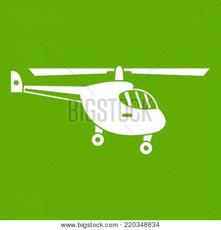 Helicopter icon white isolated on green background. Vector illustration poster