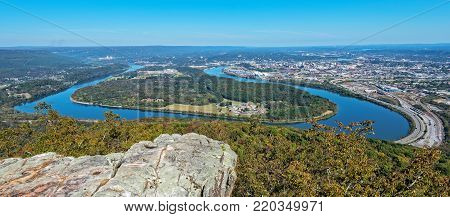 Overlook View Of Moccasin Bend, The Tennessee River And The City Of Chattanooga From Point Park On Lookout Mountain