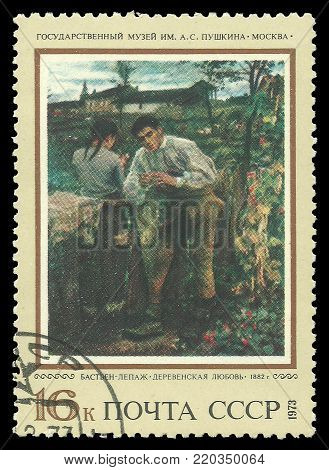 USSR - circa 1973: Stamp printed by USSR, Color edition on art, shows painting Rural Love by Jules Bastien Lepage, circa 1973