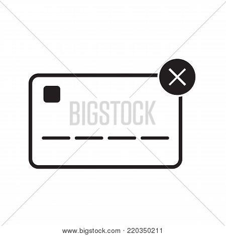 Credit card icon unacceptable concept vector illustration line