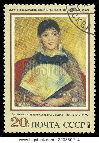 USSR - circa 1973: Stamp printed by USSR, Color edition on art, shows painting Girl with a Fan by Renoir, circa 1973