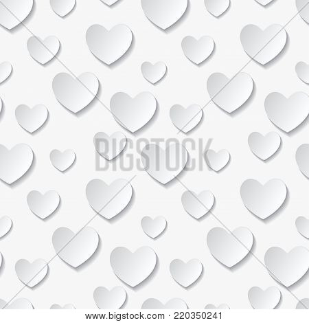 Valentine's day seamless abstract romantic background with cut paper hearts. Vector illustration. Paper hearts cut from paper. International holiday of lovers.