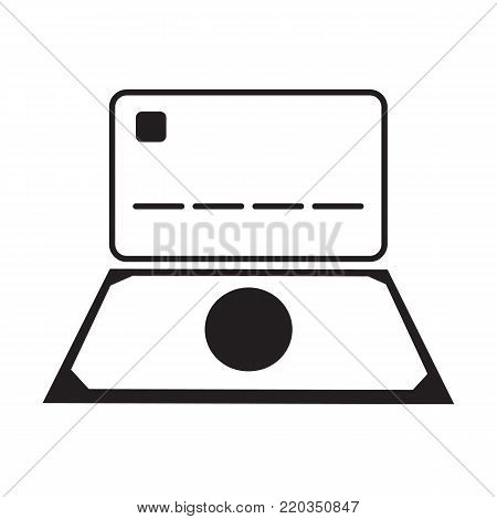 Money and credit card icon technology concept vector illustration line