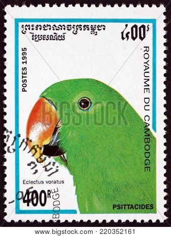 CAMBODIA - CIRCA 1995: a stamp printed in Cambodia shows eclectus parot, eclectus roratus, bird, circa 1995