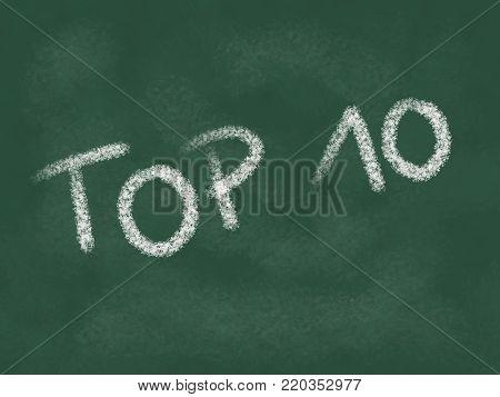 top 10 - text on chalkboard - illustration