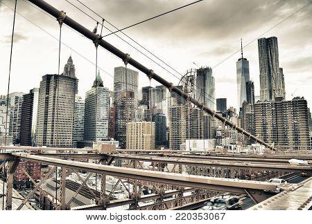 HDR view of Lower Manhattan from Brooklyn Bridge.
