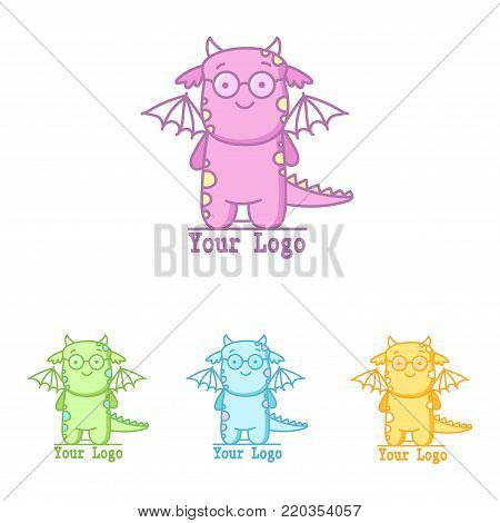 Cute logo with flying dinosaur. Little dino in different colors. Isolated vector illustration.