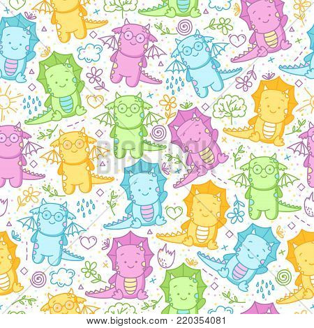 Kids seamless pattern with dinosaurs and funny doodle. Cute background with dino, flowers, leaves, cloud, hearts, crown, egg, hearts and more smiles.
