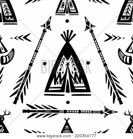 Seamless pattern with tee pee wigwam and arrows