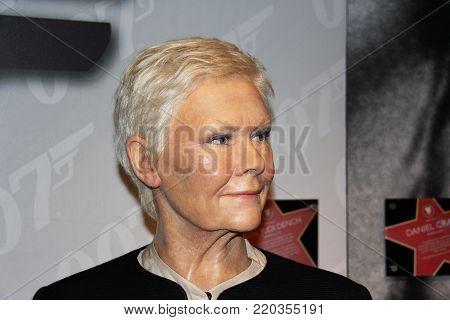 London, - United Kingdom, 08, July 2014. Madame Tussauds in London.  Waxwork statue of Judi Dench.