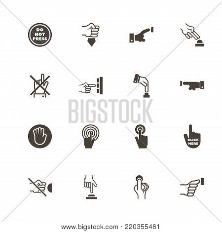 Buttons icons. Perfect black pictogram on white background. Flat simple vector icon.