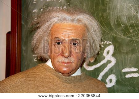 London, - United Kingdom, 08, July 2014. Madame Tussauds in London. Waxwork statue of Albert Einstein. He developed the general theory of relativity.