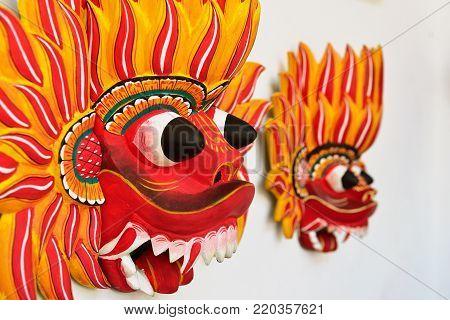 Sri Lankan traditional wooden Fire Devil mask