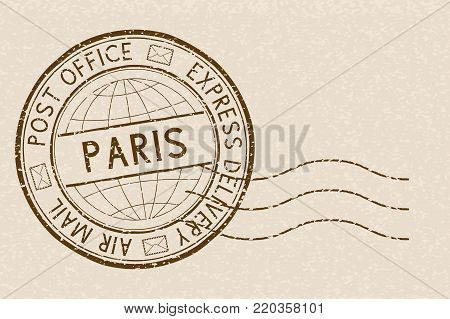 Postal stamp, round brown postmark with plane icon. Paris, France. Vector illustration