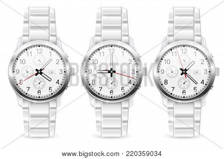 Men chronograph watch. Vector 3d illustration isolated on white background