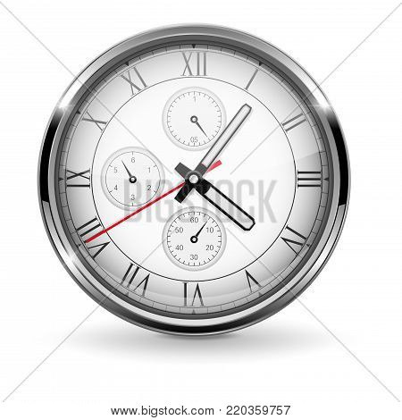 Clock. Metal chronograph with roman numerals. Vector 3d illustration isolated on white background