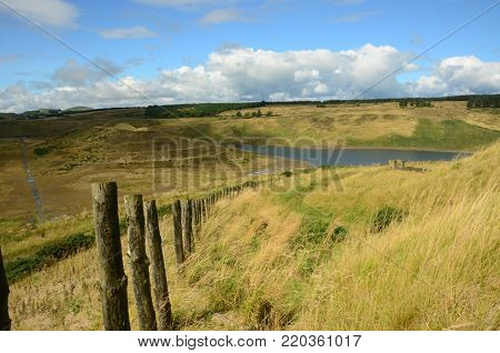 A view across an abandoned land renewal project near Kelty