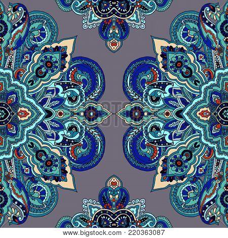 Paisley mandala seamless pattern. Oriental ethnic circular ornament. Teal tones on gray background. Textile design.