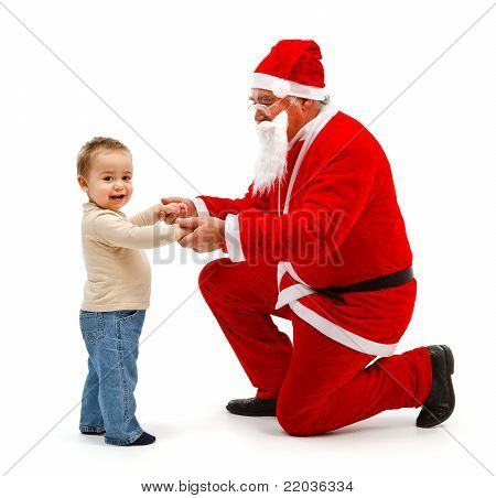 Santa Claus And Little Boy Together