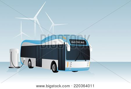 Electric bus is charging at the charging station. In the background wind generators. Vectror illustration EPS 10