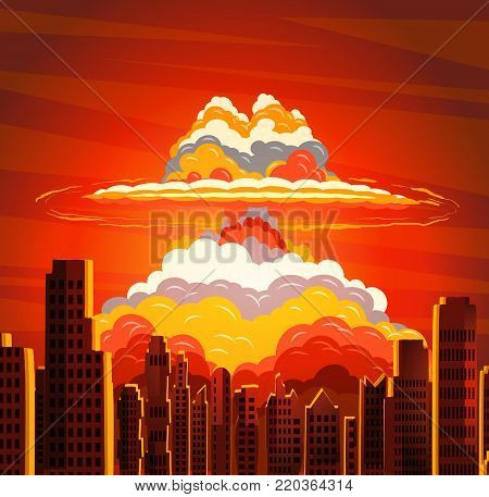 Rising radioactive heated bright yellow mushroom cloud on big city, Nuclear explosion, dangers of nuclear energy. Vector illustration