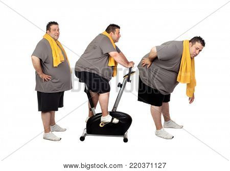 Sequence of a big men doing sport isolated on a white background