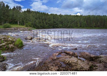 Threshold Bol'shoy  Toll' on the Shuya River. Karelia. Russia.