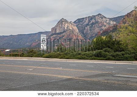The majestic mountains loom over highway 89A in Arizona