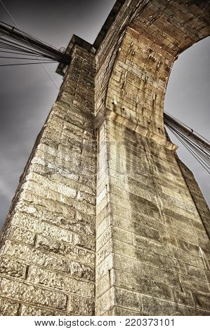 HDR view of the tower of Brooklyn Bridge.
