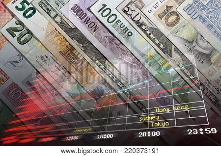 Background of the banknotes of various currencies and financial charts.