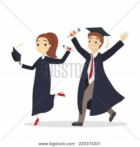 Isolated graduated students in unifrom with diploma.