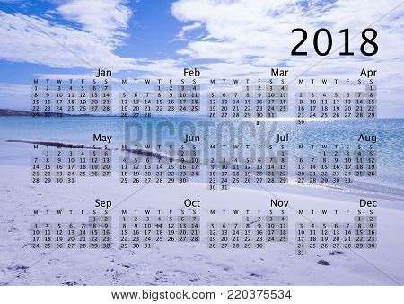 New year 2018 calendar poster with a tropical seascape background (Coche island, Margarita, Venezuela).