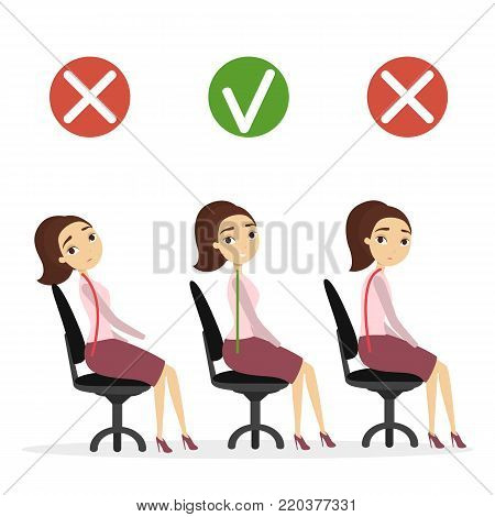 Good posture set. Woman with bad and good spine sitting in office.