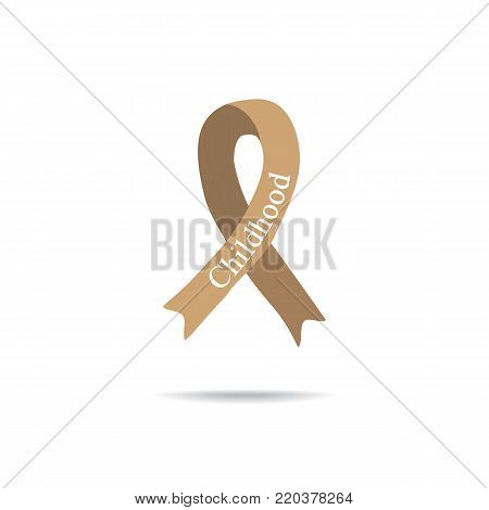 Cancer Ribbon. International Day of cancer. World Cancer Day. International Childhood Cancer Day. Vector illustration on isolated background.